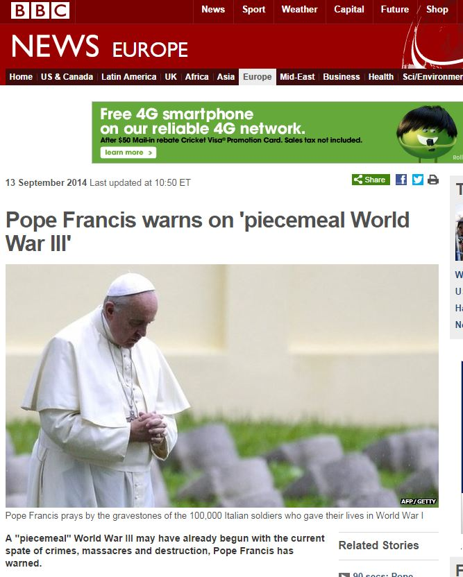 Pope says WWIII is on